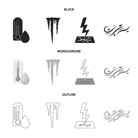 Humidity, icicles, thunderbolt and windy weather. Weather set collection icons in black, monochrome, outline style vector symbol stock illustration. 일러스트