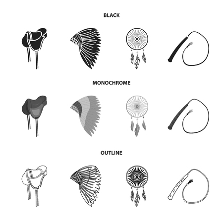 Saddle, Indian mohawk, whip and dream catcher. Wild west set collection icons in black, monochrome, outline style vector symbol stock illustration. Illusztráció