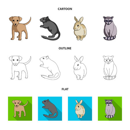 Animals set collection icons in cartoon, outline flat style vector symbol stock illustration web.