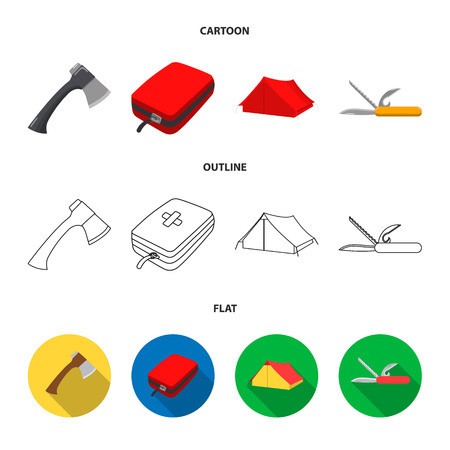 Ax, first-aid kit, tourist tent, folding knife. Camping set collection icons in cartoon,outline,flat style vector symbol stock illustration .