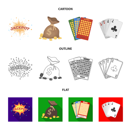 Jack sweat, a bag with money won, cards for playing Bingo, playing cards. Casino and gambling set collection icons in cartoon,outline,flat style vector symbol stock illustration .  イラスト・ベクター素材