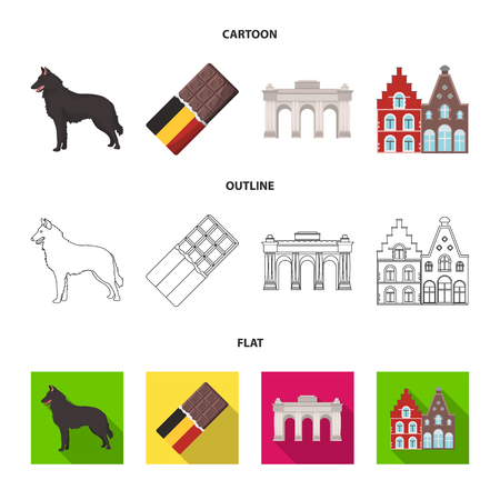 Chocolate, cathedral and other symbols of the country.Belgium set collection icons in cartoon,outline,flat style vector symbol stock illustration .