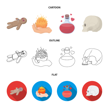 A voodoo doll, a magical fire, a love potion, a skull.Black and white magic set collection icons in cartoon,outline,flat style vector symbol stock illustration .