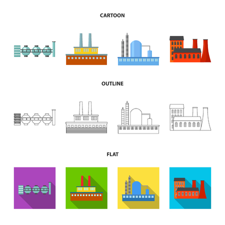 Factory set collection icons in cartoon, outline, flat style vector symbol stock illustration. Illustration