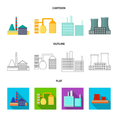 Factory set collection icons in cartoon, outline, flat style vector symbol stock illustration. Ilustracja