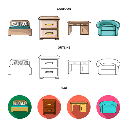 Interior, design, bed, bedroom .Furniture and home interiorset collection icons in cartoon,outline,flat style vector symbol stock illustration . Stock Illustratie