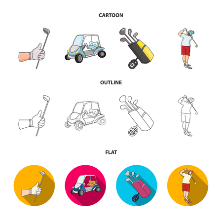 A gloved hand with a stick, a golf cart, a trolley bag with sticks in a bag, a man hammering with a stick. Golf Club set collection icons in cartoon,outline,flat style vector symbol stock illustration