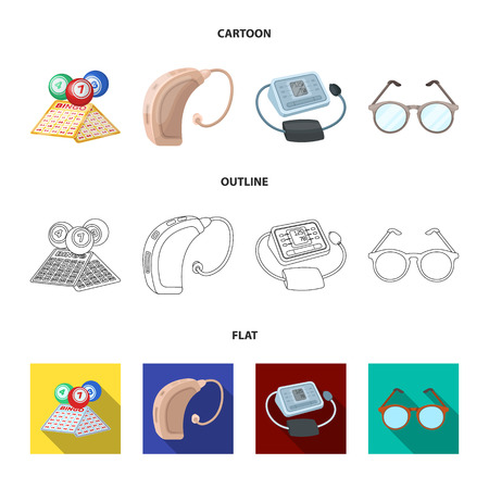 Lottery, hearing aid, tonometer, glasses.Old age set collection icons in cartoon,outline,flat style vector symbol stock illustration . Illustration