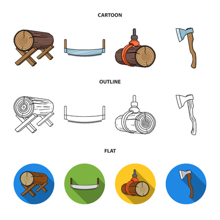 Log on supports, two-hand saw, ax, raising logs. Sawmill and timber set collection icons in cartoon, outline, flat style vector symbol stock illustration . Ilustrace