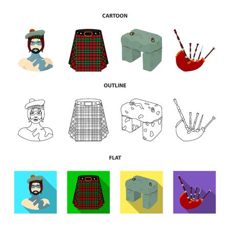 Highlander, Scottish Viking, tartan, kilt, scottish skirt, scone stone, national musical instrument of bagpipes. Scotland set collection icons in cartoon, outline, flat style vector symbol stock illustration . Ilustração