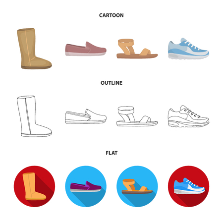 Stivali ugg beige con pelliccia, mocassini marroni con suola bianca, sneakers bianche e blu. Scarpe set di icone di raccolta in cartoon, contorno, stile piatto simbolo vettore illustrazione stock.
