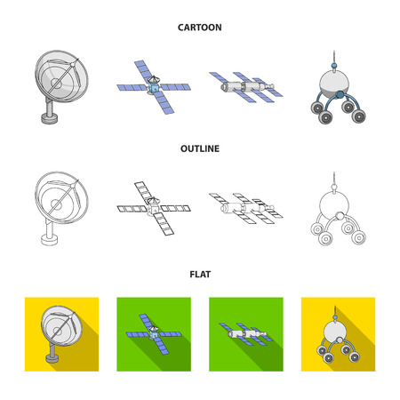 Radio radar, docking in space spacecraft, Lunokhod. Space technology set collection icons in cartoon, outline, flat style vector symbol stock illustration.