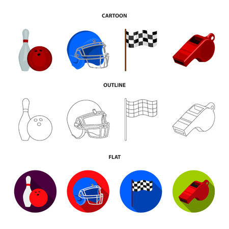 Bowl and bowling pin for bowling, protective helmet for playing baseball, checkbox, referee, whistle for coach or referee. Sport set collection icons in cartoon,outline,flat style vector symbol stock illustration . Illustration