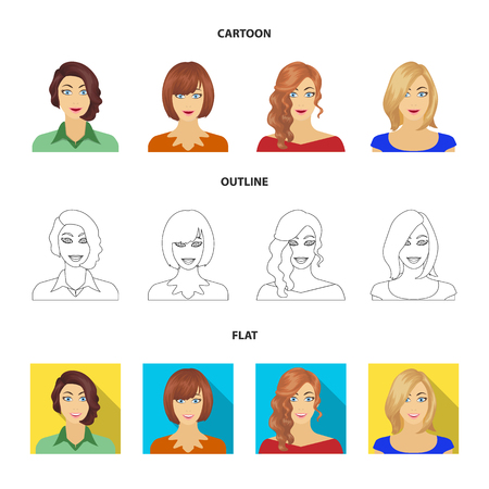 Apariencia de una mujer con peinado, rostro de niña. La cara y la apariencia establecen los iconos de la colección en dibujos animados, contorno, estilo plano símbolo ilustración vectorial de stock.