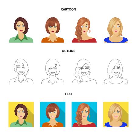 Aspetto di una donna con una pettinatura, il viso di una ragazza. Viso e aspetto set di icone di raccolta in cartoon, contorno, stile piatto simbolo vettore illustrazione stock.