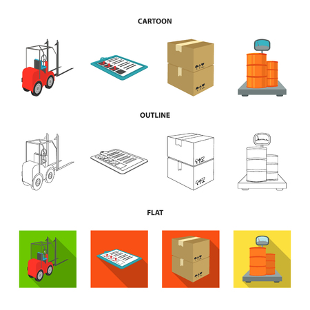Forklift, delivery slips, packaged goods, cargo on weighing scales. Logistics and delivery set collection icons in cartoon,outline,flat style isometric vector symbol stock illustration . Illustration