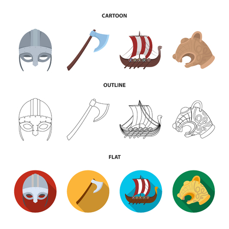 Viking helmet, battle ax, rook on oars with shields, dragon, treasure. Vikings set collection icons in cartoon, outline, flat style vector symbol stock illustration.