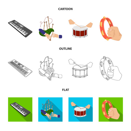 Synthesizer melodies, bagpipes Scotch and other  icon in cartoon,outline,flat style. drum, drum roll, tambourine in hand icons in set collection.