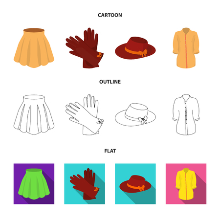 Skirt with folds, leather gloves, women hat with a bow, shirt on the fastener. Women clothing set collection icons in cartoon,outline,flat style vector symbol stock illustration .