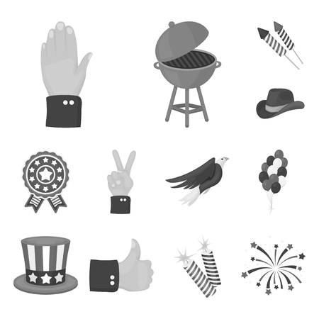 Day of Patriot, holiday monochrome icons in set collection for design. American tradition vector symbol stock  illustration.