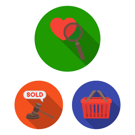 E-commerce, Purchase and sale flat icons in set collection for design. Trade and finance vector symbol stock  illustration.