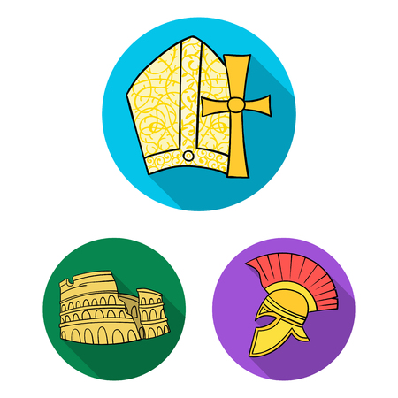 Country Italy flat icons in set collection for design. Italy and landmark vector symbol stock web illustration.