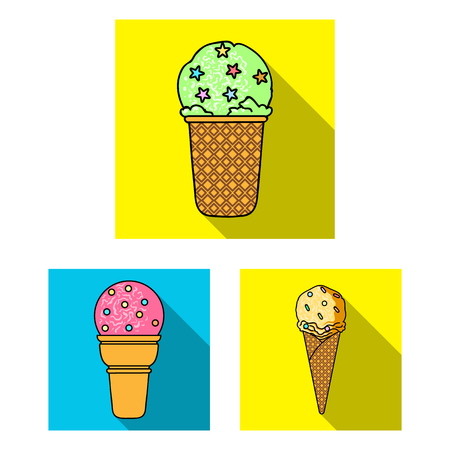 Different ice cream flat icons in set collection for design. Dessert and sweetness vector symbol stock web illustration. 向量圖像