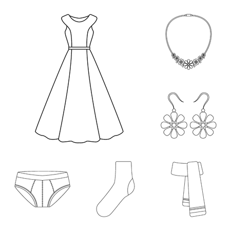 449f8792a42 Clothes and accessories outline icons in set collection for design. Shoes  and decoration vector symbol