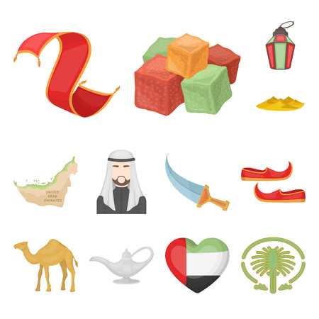 Country United Arab Emirates cartoon icons in set collection for design. Tourism and attraction vector symbol stock  illustration. Illustration