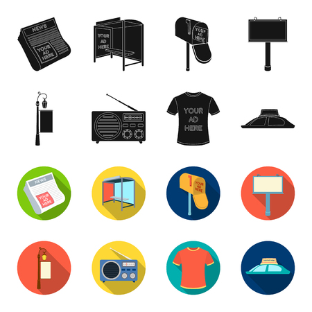 A lamppost with a sign, a T-shirt with an inscription, a radio, a car roof.Advertising,set collection icons in black,flet style vector symbol stock illustration .