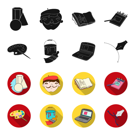 A palette with a brush, a bucket with a paint brush, a computer, a tool, a pen.Artist and drawing set collection icons in black,flet style vector symbol stock illustration web.