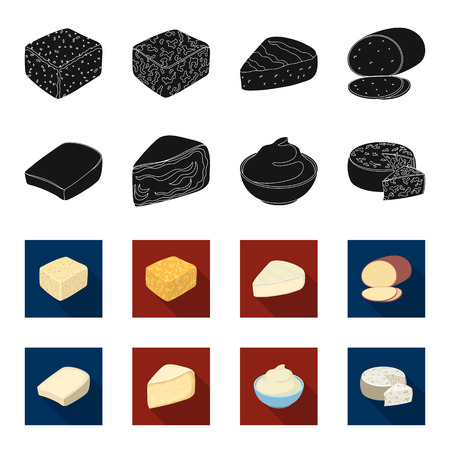 Gruyere, camembert, mascarpone, gorgonzola.Different types of cheese set collection icons in black,flet style vector symbol stock illustration .