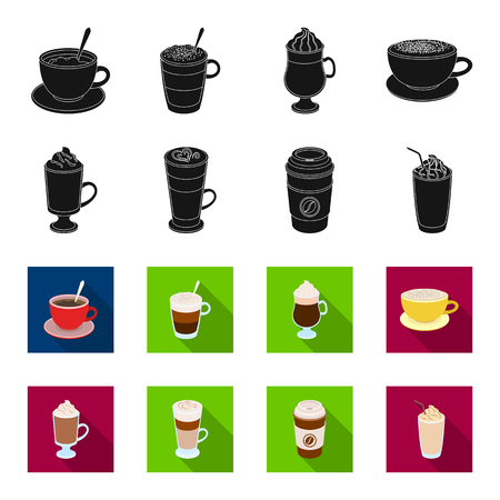 Mocha, macchiato, frappe, take coffee.Different types of coffee set collection icons in black,flet style vector symbol stock illustration .