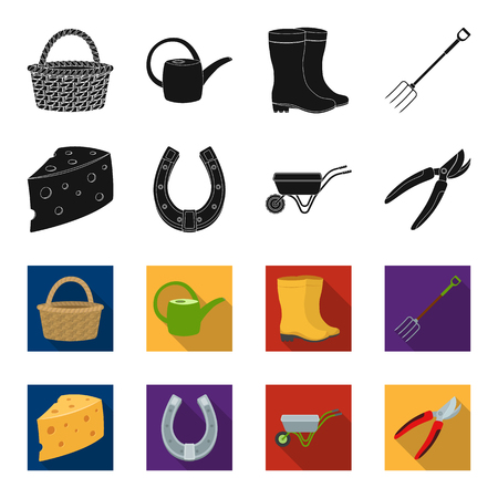 Cheese with holes, a trolley for agricultural work, a horseshoe made of metal, a pruner for cutting trees, shrubs. Farm and gardening set collection icons in black,flet style vector symbol stock illustration web.