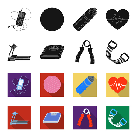 Treadmill, scales, expander and other equipment for training.Gym and workout set collection icons in black,flet style vector symbol stock illustration .