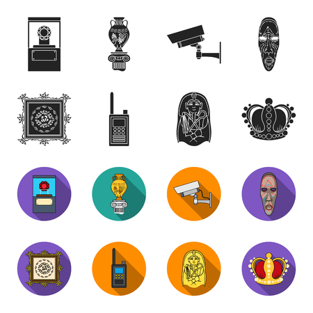 Museum set collection icons in black, flat style vector symbol stock illustration.
