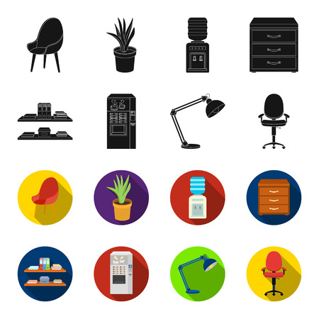 Office Furniture set collection icons in black, flat style vector symbol stock illustration. 向量圖像