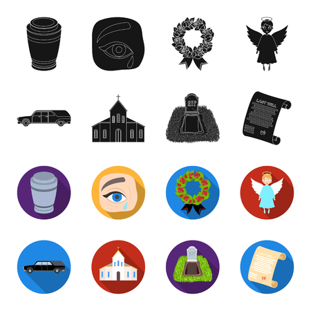 Funeral ceremony set collection icons in black, flat style vector symbol stock illustration.