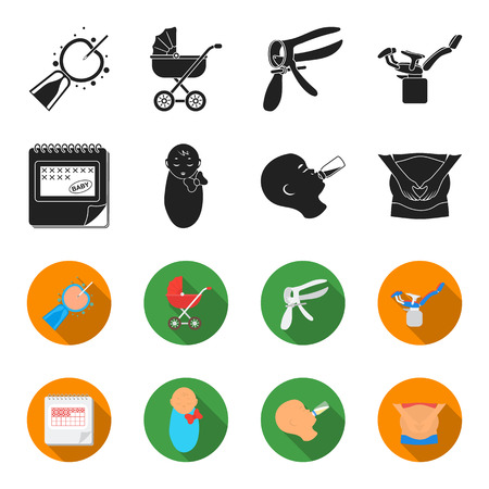 Pregnancy set collection icons in black, flat style vector symbol stock illustration. Illustration