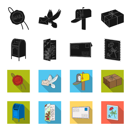Mail and postman set collection icons in black, flat style vector symbol stock illustration. Archivio Fotografico - 100621724