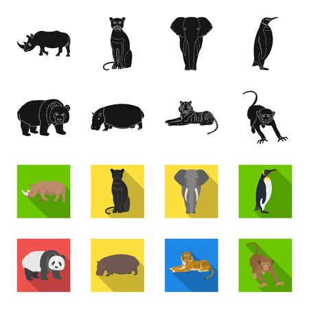 Bamboo bear, hippopotamus, wild animal tiger, monkey . Wild animal set collection icons in black,flet style vector symbol stock illustration .