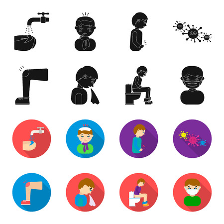 A foot with a bruise in the knee, sneezing sick, a man sitting on the toilet, a man in a medical mask. Sick set collection icons in black,flet style vector symbol stock illustration web.