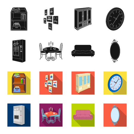 Coffee maker, served table in the restaurant and other web icon in black,flet style isometric.Soft comfortable sofa, wall mirror icons in set collection.