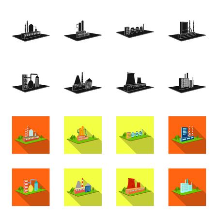 Verwerkingsfabriek, metallurgische fabriek. Fabriek en industrie instellen collectie iconen in zwart, plat stijl isometrische vector symbool stock illustratie web. Vector Illustratie