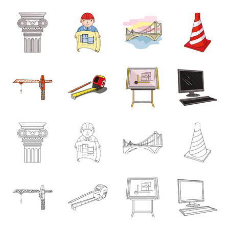 Construction crane, measuring tape measure, drawing board, computer. Architecture set collection icons in cartoon, outline style vector symbol stock illustration.