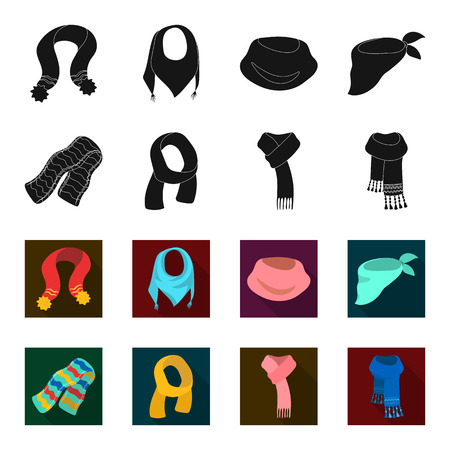 Various kinds of scarves, scarves and shawls. Scarves and shawls set collection icons in black,flet style vector symbol stock illustration web. Stock Illustratie