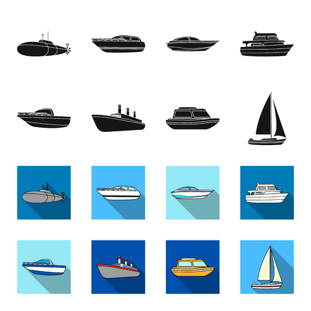 Protection boat, lifeboat, cargo steamer, sports yacht.Ships and water transport set collection icons in black,flet style vector symbol stock illustration web.