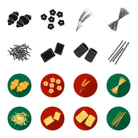 パスタの種類が異なります。ブラック、フレットスタイルベクターシンボルストックイラストの中のパスタセットコレクションアイコンの種類。