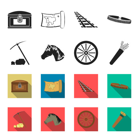 Pickax hoe, horse head, wheel cart, quiver with arrows.Wild west set collection icons in black,flet style vector symbol stock illustration web.