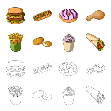 Food, refreshments, snacks and other web icon in cartoon,outline style.Packaging, paper, potatoes icons in set collection.